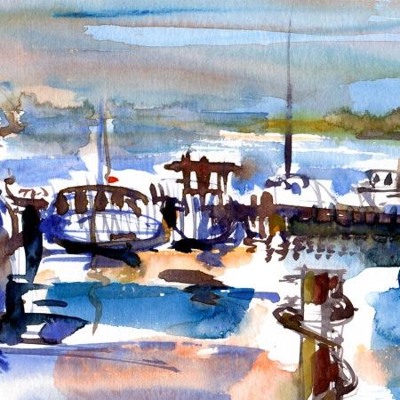 akvarel af Dansk havn