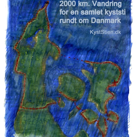 Kort over vandring rundt om Danmark
