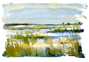 Vandrere ved havet, kyststien, akvarel