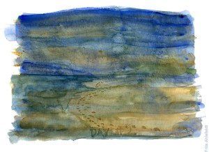 Akvarel af fodspor langs havet