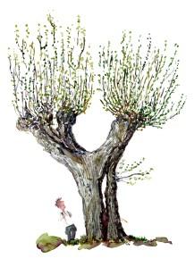Akvarel af trae, kyststien, piletrae med vandrer