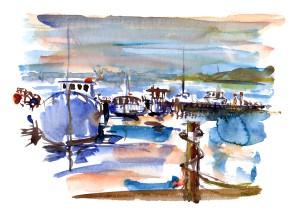 Rødvig havn akvarel af Frits Ahlefeldt