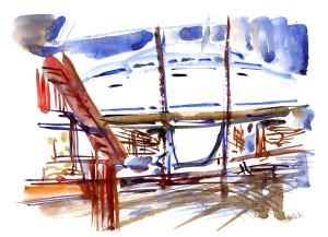 Rødvig havn, akvarel