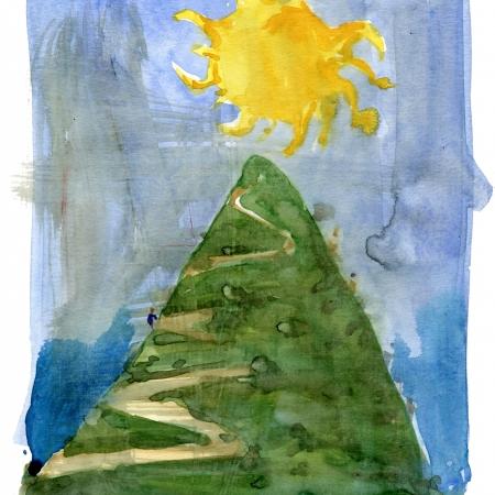Akvarel af planetstien med solen øverst på en bakke