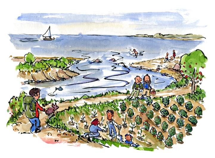 Tegning fra en kyststi