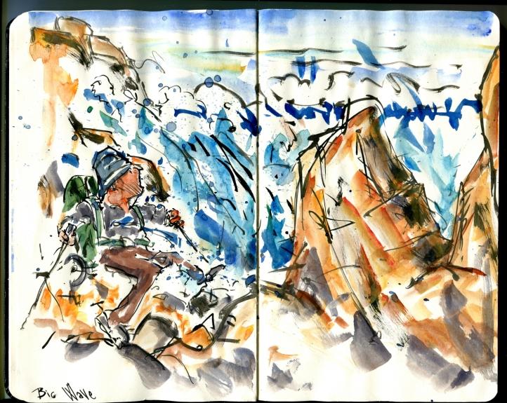 Vandrer tæt på store bølger på Bornholm - logbogstegning fra Frits Ahlefeldt
