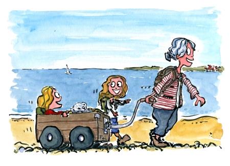 illustration af ældre dame og to piger på vandretur langs kysten