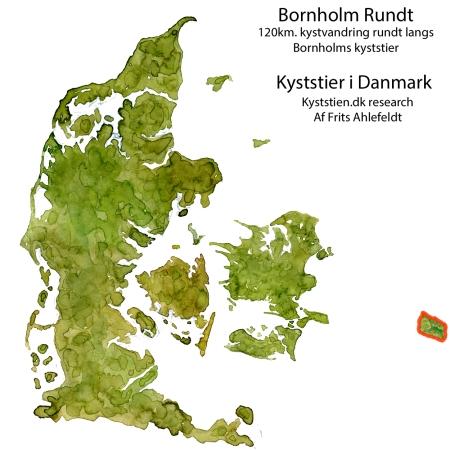 Bornholm rundt kystvandresti placering i Danmark - akvarel af Frits Ahlefeldt