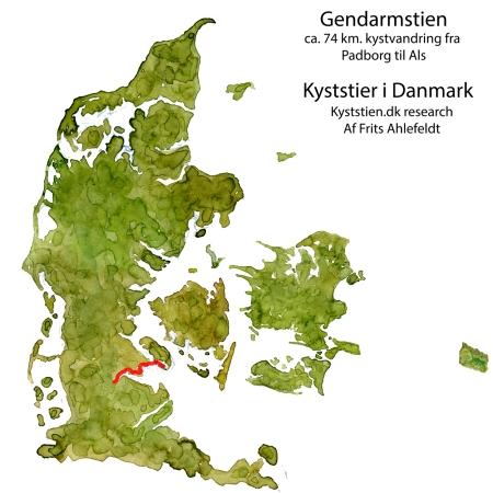Gendarmstiens placering i Danmark - akvarel af Frits Ahlefeldt