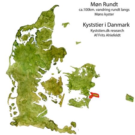 Skitse af Danmark med Møn rundt kystvandresti tegnet ind