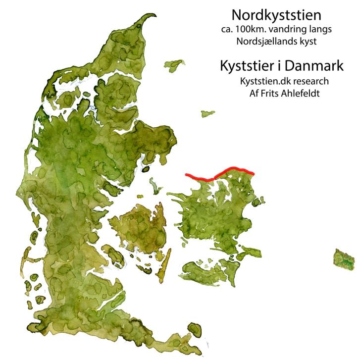 Danmarkskort med Nordkyststien skitse