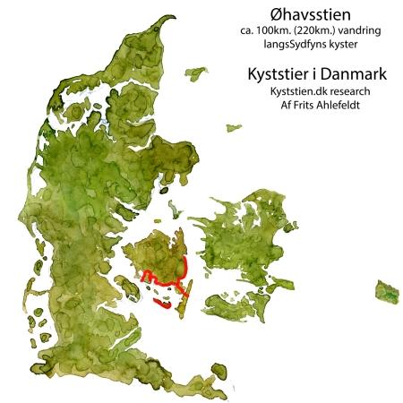 Danmarkskort m. Øhavsstien tegnet ind
